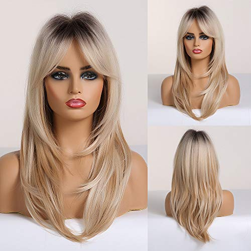 HAIRCUBE Long Curly Blonde Women's Wigs Shoulder-Length Synthetic Wigs for Women with Bangs Black Root Light-Blonde Hair Wigs for White Women