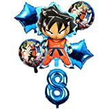 BAYUE Globos 6pcs / Set Cartoon Dragon Ball Goku Foil Balloons 32 Inch Number Balloon Set Happy Birthday Party Decoration Kids Toy Campus Party ( Color : Violet )