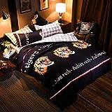 LAMEJOR Duvet Cover Set King Size 3D Tigers/Plaid Pattern Reversible Luxury Soft Bedding Set Comforter Cover (1 Duvet Cover+2 Pillowcases) Black/White