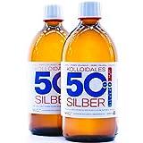 1000ml Plata coloidal 50PPM 2 * 500ml Plata coloidal PureSilverH2O ● producción diaria ● entrega directa ● la mejor calidad ● Made in Germany