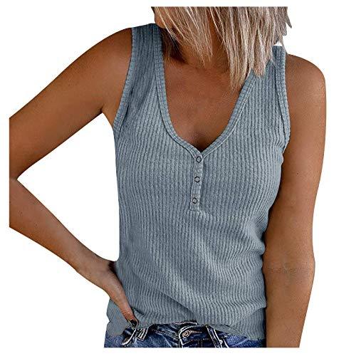 riou Camiseta sin Mangas para Mujer Verano Playa Algodón Camisola De Chaleco Color Sólido 2021 Nuevo con Tiras Sexy Blusa De Las Señoras Camisetas Casuales Cami Tops