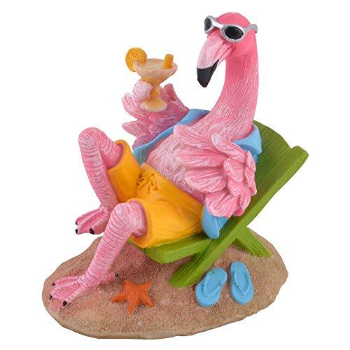 Dadeldo Living & Lifestyle Flamingo Funny Beach Design Deko Figur Resin bunt (16x15x10cm)