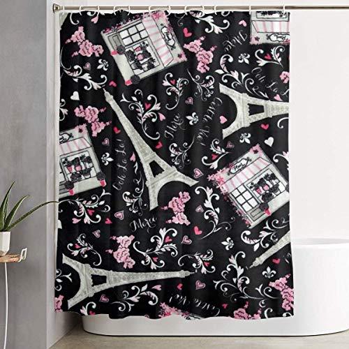 226 MILAIDI DuschvorhangDuschvorhängeParis Eiffel Tower Floral Warmth 60 x 72 Inch Shower Curtain Polyester Waterproof Bath Curtain Bathroom Decoration Decoration Creative Home Ideas