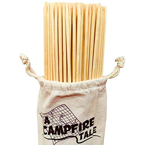 The Ultimate Marshmallow Roasting Sticks Premium Bamboo Extra Long 36 Inches 5MM Thick Heavy Duty Wooden Skewers Perfect for Smores Hot Dogs Kebab Campfire Fire Pit Camping Cooking 110 Pieces Safe
