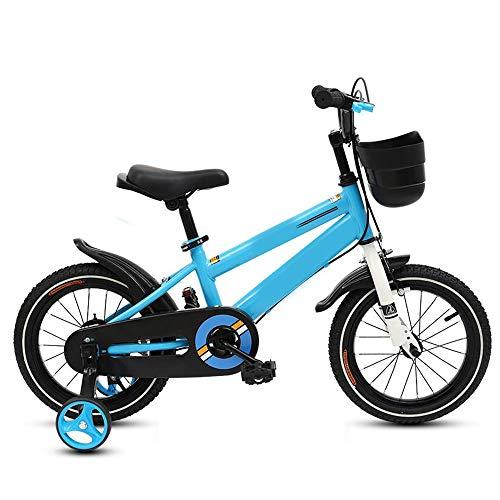 YumEIGE kinderfiets jongens meisjesfiets, met hoog koolstofstalen frame, kinderfiets, voor 2 tot 12 jaar oud, hoogte 32,2-59 inch, kinderfiets, met trainingsrond, cadeau voor kinderen 18in blauw