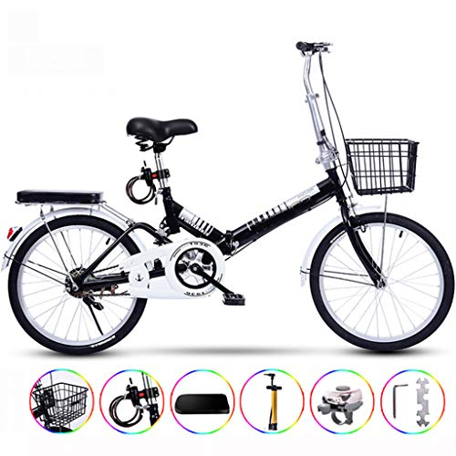 Ultralight Portable Folding Bike for Adults with Self Installatie 20 Inch één wiel Single Speed,Black