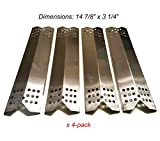 BBQ funland SH0371(4-Pack) Stainless Steel Heat Plate Replacement for Gas Grill Model Master Forge 1010037, 1010048