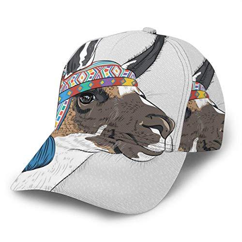 NA Gorra de béisbol unisex Cartoon Alpaca Peru Llama Ethnic Brim Hat Gorras