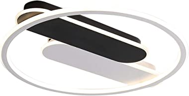 MTDSHD 36W Moderne LED plafonnier Anneaux Design plafonnier Blanc et Noir en métal Lampe de Chambre Acrylique Abat-Jour éclai