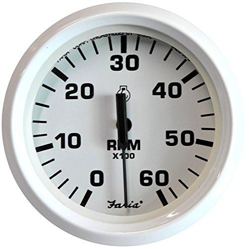 "Faria Dress White 4"" Gauge, 6000RPM Tachometer, Gas, Inboard and IO"