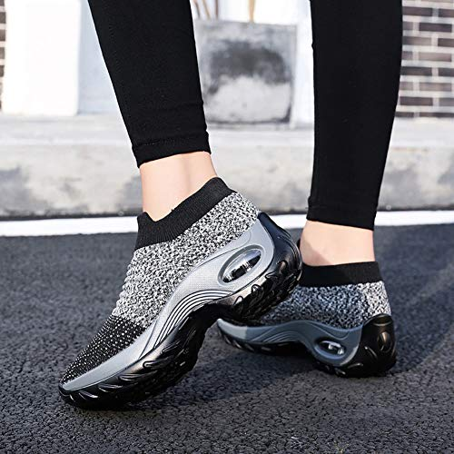 Women's Walking Shoes Sock Sneakers - Mesh Slip On Air Cushion Lady Girls Modern Jazz Dance Easy Shoes Platform Loafers Grey,8