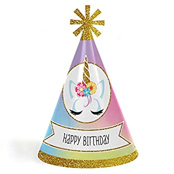Rainbow Unicorn - Cone Magical Unicorn Happy Birthday Party Hats for Kids and Adults - Set of 8  Standard Size