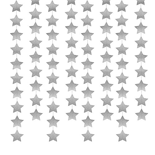 Whaline 52 Feet Star Paper Garland Bunting Banner Hanging Decoration for Wedding Holiday Party Birthday, 2.75 Inches (Silver)