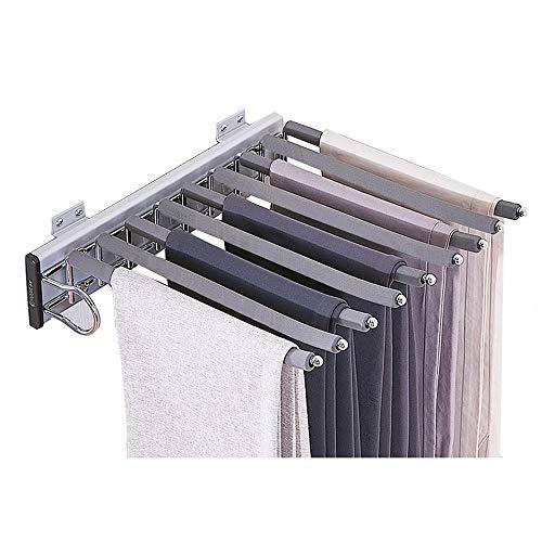 XYL Aleación de Aluminio Pantalonero Extraible, Estante Deslizante del Organizador del Carril de la suspensión, Perchero para Bufandas/toallero/Corbata de Montaje Lateral