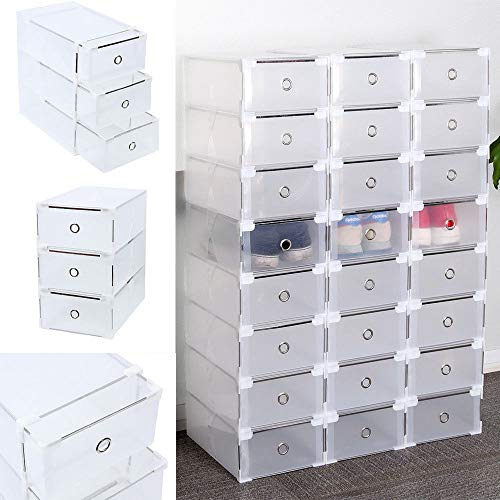 Homgrace 24 Cajas de Zapatos de Plástico Transparente Apilable...