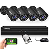 SANSCO Smart HD CCTV <span class='highlight'>Security</span> Camera System with 1080P 4 Channel DVR (4) 2.0MP Indoor Outdoor Bullet Cameras and 1TB Hard Drive (1920x1080 1080p, Continuous/Motion Recording, Instant Mobile App Access with Email Alerts)