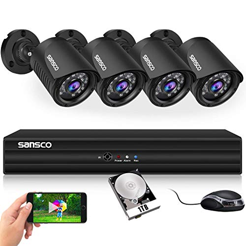 SANSCO Smart HD CCTV Security Camera System with 1080P 4 Channel...