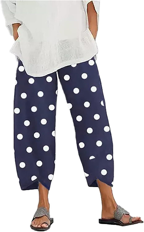 Bilibird Women's Polka Dot Printed Elastic Waist Casual Cotton Linen Cropped Pants Harem Pants Jogger Pants