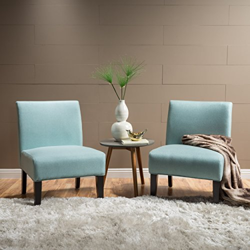 Kendal Contemporary Fabric Slipper Accent Chair (Set of 2), Light Blue and Matte Black