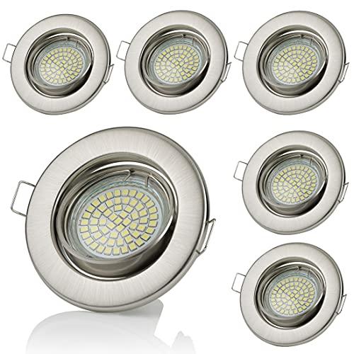 Sweet Led Lot de 6 spots encastrables LED GU10 3 W 230 V avec cadre de montage Blanc froid