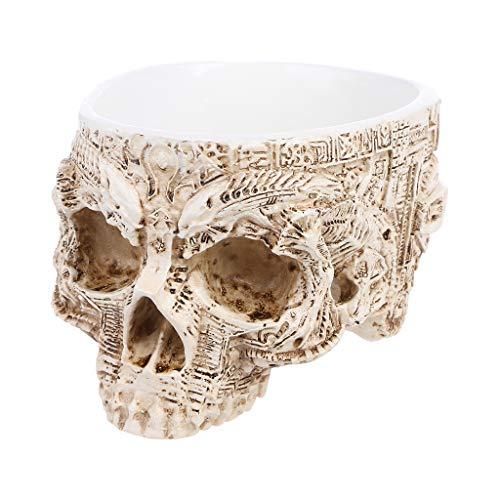 Xuniu Hand Geschnitzte Schädel Blumentopf, menschliche Schädel Knochen Schüssel Haus, Garten, Halloween Dekor 9,7x12,4 cm