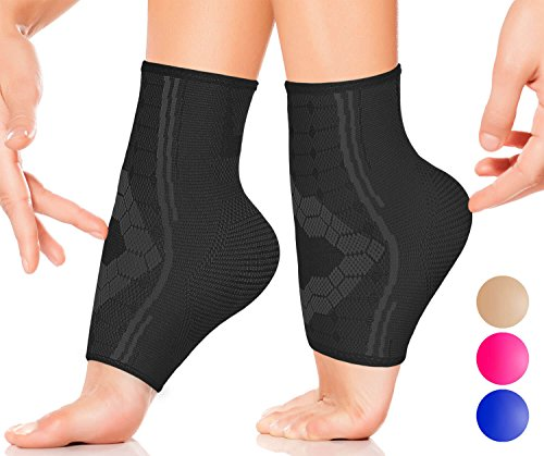 Ankle Compression Sleeve by SPARTHOS (Pair) – Plantar Fasciitis Brace with Arch Support – Foot Ankle Socks for Men and Women – Increase Blood Circulation, Reduce Swelling & Heel Spurs (Black-M)