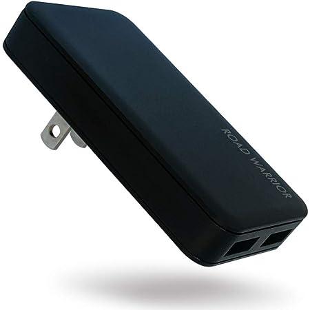 ROAD WARRIOR USB 自動判別 急速 充電器 2ポート 15.5W (最大出力 5V / 3.1A) [ iPhone/iPad/Android その他USB-C機器対応 ] 折畳式プラグ 急速充電器 ブラック 黒 RW126BK 電源タップ 変換プラグ 変換アダプター 急速充電