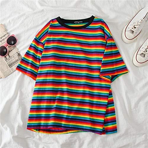 Women T-Shirts Sweet Rainbow Stripe Frauen Sommer T-Shirt Minimalist Kurzarm Damen Kleidung Vogue Tops T-Shirt Paar Kleidung L Multi