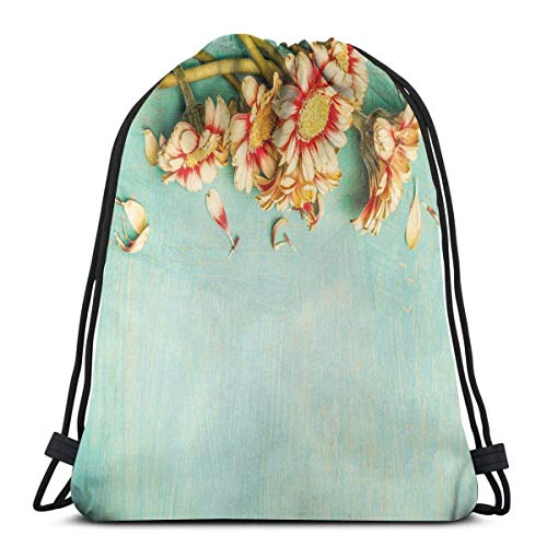 Drawstring Tote Bag Gym Bags Storage Backpack, Bunch Of Gerbera Flowers On A Turquoise Wooden Board Seasonal Nature Border,Very Strong Premium Quality Gym Bag for Adults & Children 2303