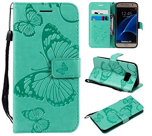 Jeewi Hülle für Galaxy S7 Hülle Handyhülle [Standfunktion] [Kartenfach] [Magnetverschluss] Tasche Etui Schutzhülle lederhülle klapphülle für Samsung Galaxy S7/G930F - JEKT040668 Grün