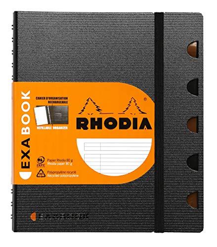 Clairefontaine 132576C - Rhodia Exabook cuaderno organización con espiral rayado, 160 páginas, A5+, negro
