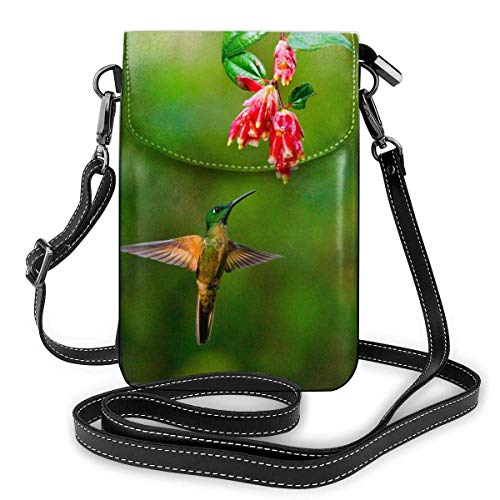 Lsjuee Monedero de cuero para teléfono, Humminabird en vuelo en una flor, pequeño bolso bandolera, mini bolso para teléfono celular, bandolera para mujer