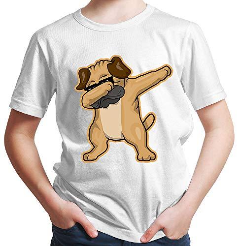 HARIZ Jungen T-Shirt Dab Hund Sonnebrille Mops Dab Dabbing Dance Karneval Plus Geschenkarte Rot 98/2-3 Jahre