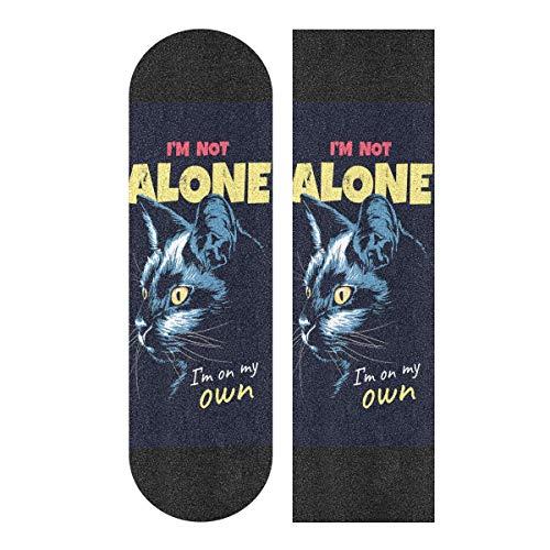 Krafig Skateboard Grip Tape Cool Cat Sheet Single-Sided Printing Longboard Griptape 33.1x9.1 Inch