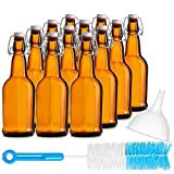 Chef's Star 16 Oz Empty Beer Bottles, Swing Top Glass Bottles, Flip Top Glass Bottle with Caps, Fermentation Home Brewing Kombucha Beer and Coquito, with Brush and Funnel, Amber, Set of 12