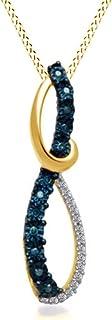 Ciondolo a forma di infinito, in oro 18 carati, con diamanti naturali e blu