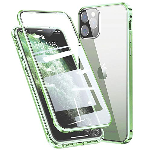 Colala Case for iPhone 12 Mini Magnetic Adsorption Technology Cover 360° Full Protection Front Back 9H Tempered Glass Ultra Slim Metal Frame Aluminum Case - Green