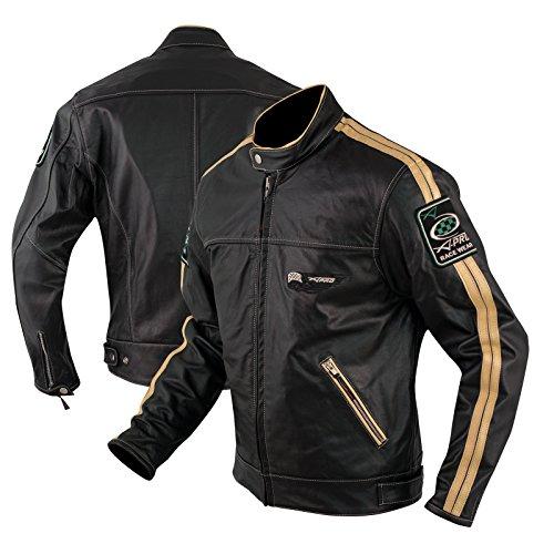 A-Pro, giacca in pelle Anilin con protezioni CE per moto, scooter, con fodera termica, colore bianco, L