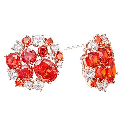 Pendientes de tuerca para mujer, de cobre hipoalergénico, con cristales de estrás brillantes, para cumpleaños, color oro rosa y rojo