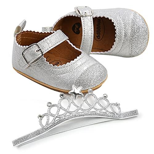 Bebé niña bautizo infantil Bowknot princesa antideslizante suela suave prewalker, Traje plateado, 12 Meses