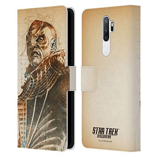 Head Case Designs sous Licence Officielle Star Trek Discovery T'Kuvma Grunge Personnages Coque en Cuir à Portefeuille Compatible avec Oppo A5 (2020)