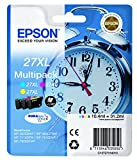 Epson 27 Serie Sveglia, Cartuccia Originale Getto d'Inchiostro DURABrite Ultra, Formato XL, Multipack 3 Colori, con Amazon Dash Replenishment Ready