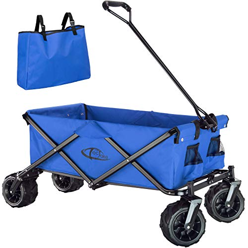 TecTake 800576 Chariot de Jardin Tout-Terrain, Max 80 kg, Pliable en Un Seul Geste - diverses Couleurs - (Bleu | n° 402912)