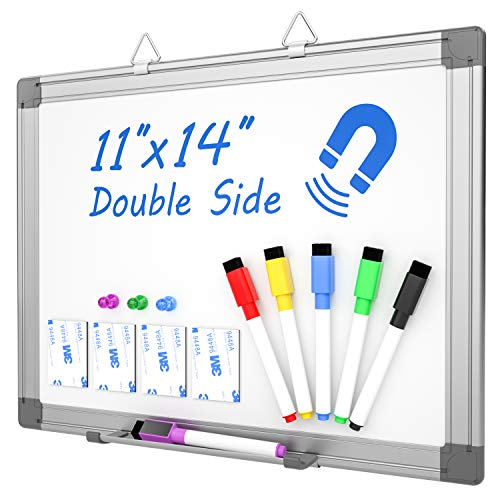 """Nicpro 11""""×14"""" Small Magnetic Dry Erase Board Double Sided Portable Aluminum Framed Hanging White Board with 6 Water-Based Pens, 3 Magent, Hooks, Tray Perfect for Kid Classroom Office Restaurant"""