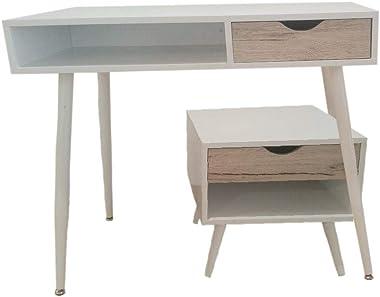 College Table en métal et Bois avec tiroirs Style Nordique pour télétravail, étude, Bureau, Bureau, Chambre d'enfant, Cha