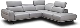 J&M Furniture Davenport Leather Right Facing Sectional Sofa in Light Grey
