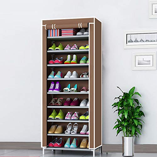 LJKD Gabinete de Almacenamiento de Zapatero de 10 Niveles con Cubierta a Prueba de Polvo Organizador de Zapatero de Tela para 27 Pares de Zapatos Pasillo Hogar 60 * 30 * 155 cm,A4