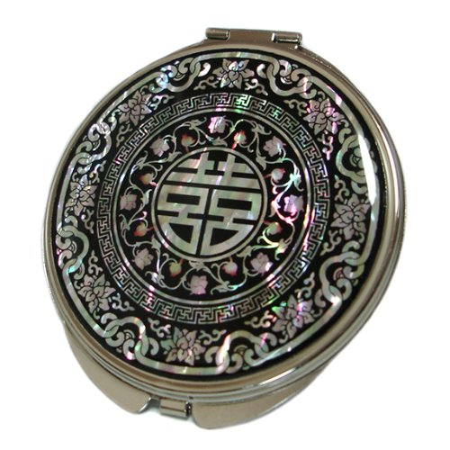 Mother of Pearl Chinese Charm Magnifying Compact Cosmetic Pocket Purse Makeup Mirror, 3.7 Ounce by Antique Alive
