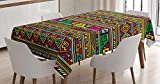 Ambesonne Tribal Tablecloth, Design with Colorful Geometrical Details Borders Vector Themed Print, Dining Room Kitchen Rectangular Table Cover, 60' X 84', Pastel Rainbow
