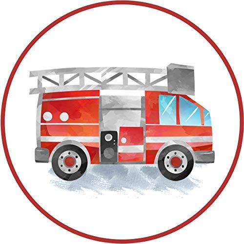 Essbarer Tortenaufleger Feuerwehrauto // Tortendekoration Feuerwehr // 20cm (Oblatenpapier)